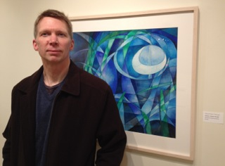 photograph of artist Geoffrey Thulin with his painting